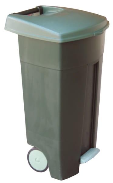 Topnotch Kosz KJS405 na odpady 120 L pedałowy, pokrywa, na kółkach, szary PM29